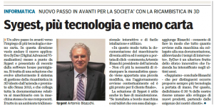 Cibus Tec 2014 News - intervista Gazzetta di Parma - Sygest Srl