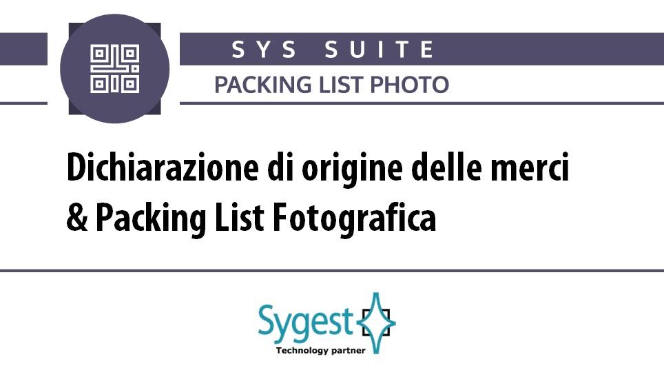 Dichiarazione di origine delle merci | Packing list fotografica